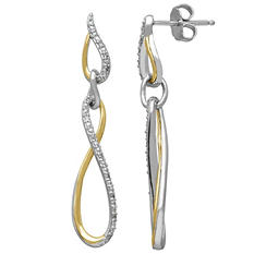 0.12 CT. T.W. Diamond Twist Earring in Sterling Silver and 14K Yellow Gold (H-I, I1)