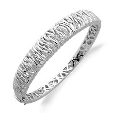 Texture Bark Bangle with Diamond Accent in Sterling Silver (H-I, I1)