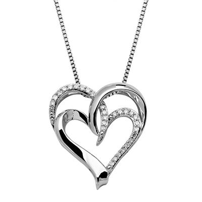 0.15 CT. T.W. Diamond Double Heart Pendant in Sterling Silver (H-I, I1)