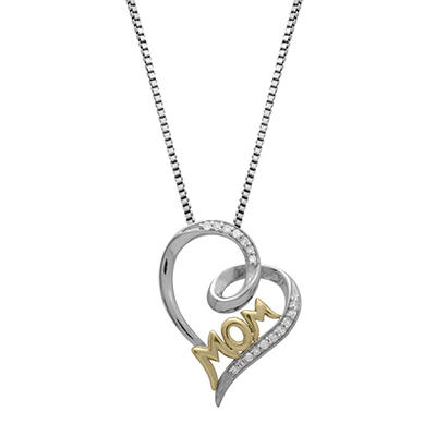 Mom Pendant with Diamond Accent in Sterling Silver and 14K Yellow Gold (H-I, I1)