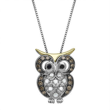 0.16 CT. T.W. Diamond Owl Pendant in Sterling Silver and 14K Yellow Gold (H-I, I1)