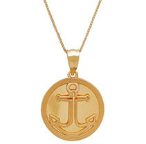 Click here for 14K Yellow Gold Anchor Pendant Necklace prices