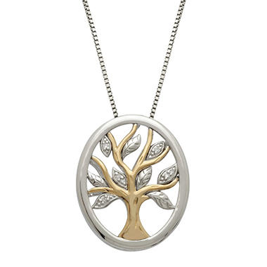 Family Tree Pendant with Diamond Accent in Sterling Silver and 14K Yellow Gold (H-I, I1)