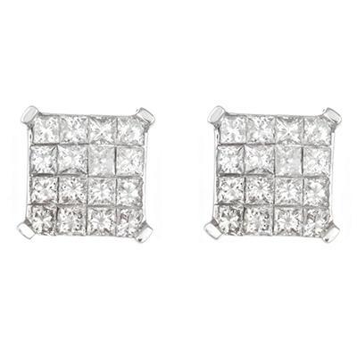 0.95 CT. TW. Princess Cut Diamond Earrings in 14K White Gold
