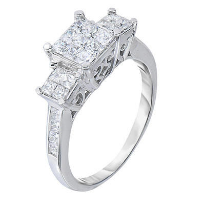 0.95 CT. TW. Princess Cut Diamond Ring in 14K White Gold