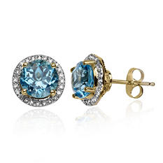 2.4 CT. Blue Topaz and Diamond Earrings in 14K Yellow Gold
