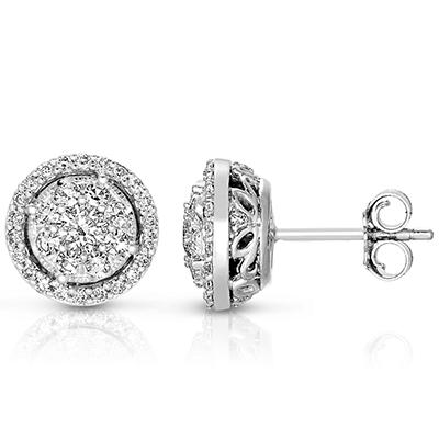0.71 CT. T.W. Diamond Unity Earrings Set in 14K White Gold  (I, I1)