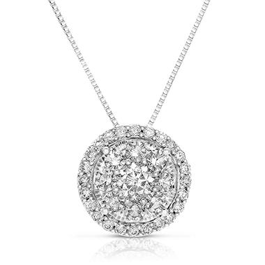 0.71 CT. T.W. Diamond Unity Pendant Set in 14K White Gold (I, I1)