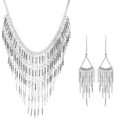 Fringed Necklace and Dangle Earring Set in Sterling Silver