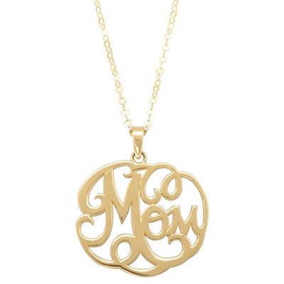 """17"""" Mom Monogram Necklace in 14K Yellow Gold"""