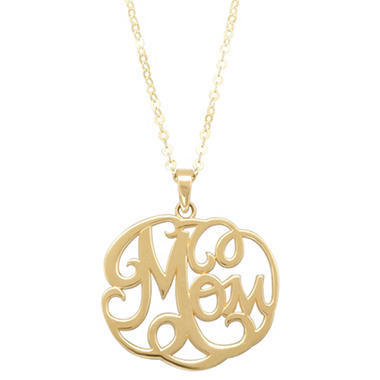 "17"" Mom Monogram Necklace in 14K Yellow Gold"