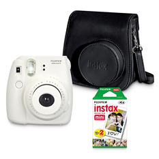FUJIFILM Instax Mini 8 Camera Bundle with a Groovy Camera Case and Instax Mini Film Twin Pack - White