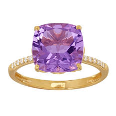 Cushion-Cut Amethyst Ring with Diamonds in 14K Yellow Gold (I, I1)