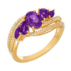 Five-Stone Amethyst Ring with Diamonds in 14K Yellow Gold