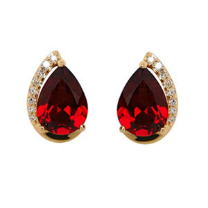 Pear Shape Garnet Earrings with Diamonds in 14K Yellow Gold