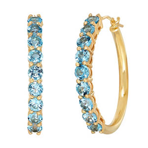 3mm Blue Topaz Hoop Earrings in 14K Yellow Gold