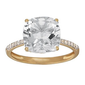 Cushion-Cut Created White Sapphire Ring with Diamonds in 14K Yellow Gold (I, I1)