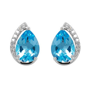 Pear Shape Blue Topaz Earrings with Diamonds in 14K White Gold