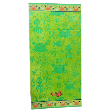 "Kids Beach Towel - Crab and Fish - 30"" x 60"""