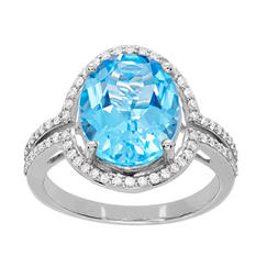 4.5 ct. t.w. Blue Topaz and Diamond Accent Ring in 14K White Gold (H-I, I1)