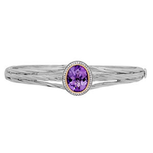 3.6 ct. t.w. Amethyst and Diamond Accent Bangle in Sterling Silver and 14K Yellow Gold (H-I, S12)