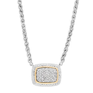 0.19 ct. t.w. Diamond Pendant in Sterling Silver and 14K Yellow Gold (H-I, S12)