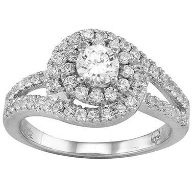 1.00 CT. T.W. Double Halo Diamond Ring in 14K White Gold (I, I1, IGI Appraisal Value: $2,045.00)
