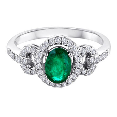 14K White Gold Emerald and Diamond Ring.(I, I1)