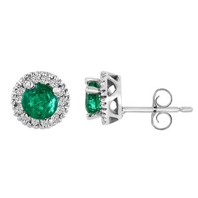 14K White Gold Round-Cut Emerald and Diamond Earrings (I, I1)