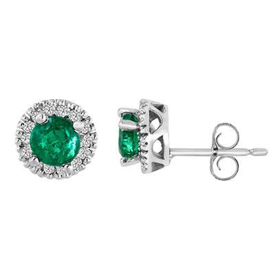 14K White Gold Round-Cut Emerald and Diamond Earrings (I, I1)