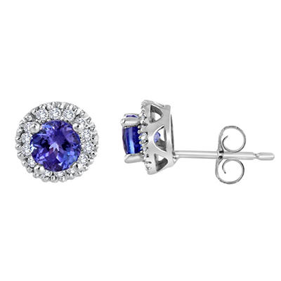 14K White Gold Round-Cut Tanzanite and Diamond Earrings (I, I1)