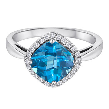 2.7 CT. Blue Topaz and 0.12 CT. T.W. Diamond Ring set in 14K White Gold (I, I1)