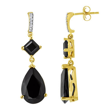 Black Onyx and Diamond Accent Earrings in 14K Yellow Gold (I, I1)