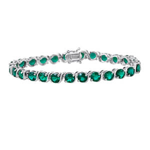 Sterling Silver and Created Emerald Bracelet