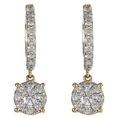1.00 CT.TW. Round Diamond Composite Drop Earring in 14K Yellow Gold (IGI Appraisal Value: $1,340