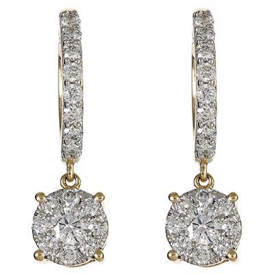 1.00 CT.TW. Round Diamond Composite Drop Earring in 14K Yellow Gold (HI/I1)