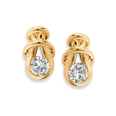 .30 ct. t.w. Everlon? Diamond Knot Earrings in 14K Yellow Gold (I,I1)