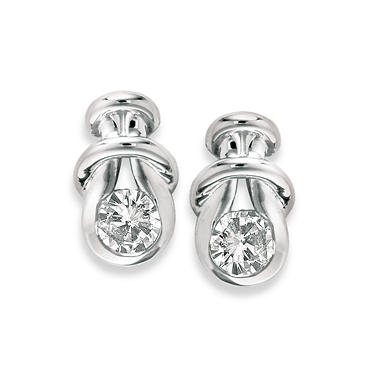 1.00 ct. t.w. Everlon? Diamond Knot Earrings in White Gold (I,I1)