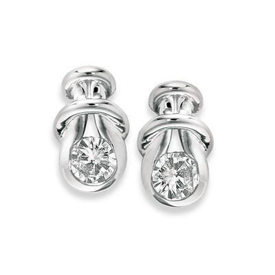 1.00 ct. t.w. Everlon™ Diamond Knot Earrings in White Gold (I,I1)