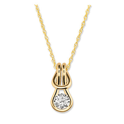 0.75 ct. Everlon™ Diamond Solitaire Pendant in 14K Yellow Gold (I,I1)