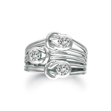 .75 ct. t.w. Everlon™ 3-Stone Diamond Ring in 14K White Gold (I, I1)