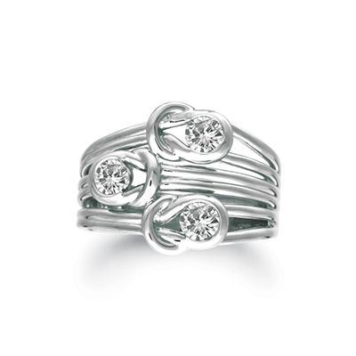 .75 ct. t.w. Everlon™ 3-Stone Diamond Ring in 14K White Gold (I, I1)