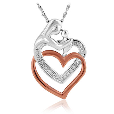 0.055 CT. T.W.  Round Cut Diamond Mother's Heart Pendant in Sterling Silver and 14K Rose Gold (I, I1)