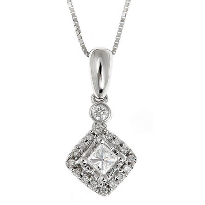 0.23 CT. T.W. Princess and Round Cut Regal Diamond Pendant in 14K White Gold (I, SI2)