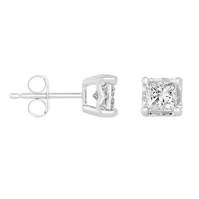 0.80 CT. T.W. Framed Princess-cut Diamond Stud Earrings in 14K White Gold (I, I1)