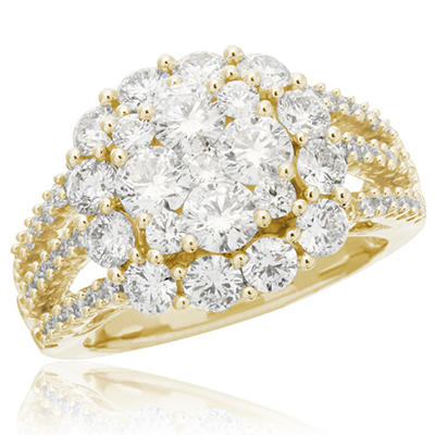 3.00 CT. T.W. Flower Cluster Ring in 14K White or Yellow Gold (I, I1)