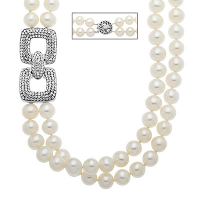 7.5mm Freshwater Pearl Strand with White Crystal Link Element in Sterling Silver