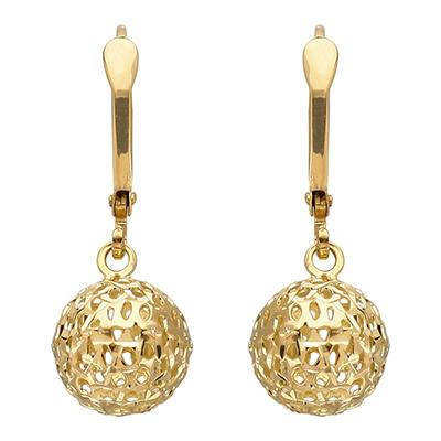 9.5 mm Pierced Bead Drop Earring in 14K Yellow Gold