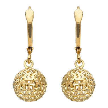 Pierced Bead Drop Earrings in 14K Yellow Gold