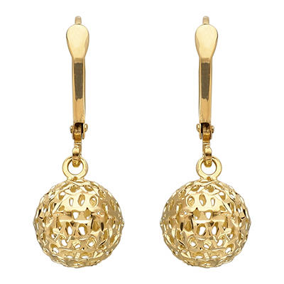 9.5 mm Pierced Bead Drop Earring in 14K Yellow Gold